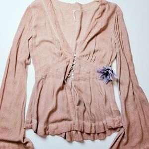 Free people fliwy button up top with bell sleeves
